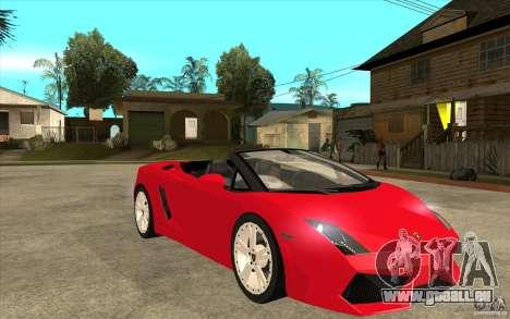 Lamborghini Gallardo LP560 Spider pour GTA San Andreas vue arrière