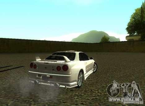 Nissan Skyline GTR-34 pour GTA San Andreas vue de dessus