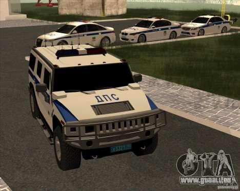 Hummer H2 DPS pour GTA San Andreas vue intérieure