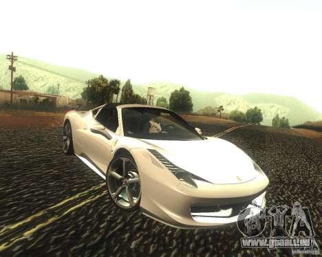 Ferrari 458 Italia Convertible pour GTA San Andreas vue arrière
