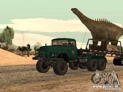 Trailer de dinosaure pour GTA San Andreas sur la vue arrière gauche