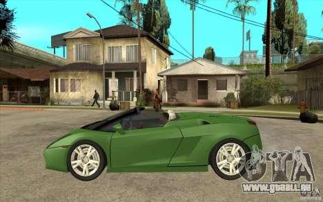 Lamborghini Gallardo Spyder pour GTA San Andreas laissé vue