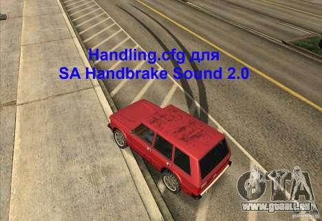 Handling.cfg für SA Handbremse Sound 2.0 für GTA San Andreas