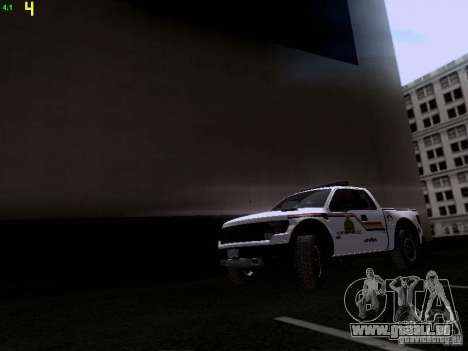 Ford Raptor Royal Canadian Mountain Police pour GTA San Andreas laissé vue