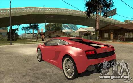 Lamborghini Gallardo LP550 Valentino Balboni für GTA San Andreas zurück linke Ansicht