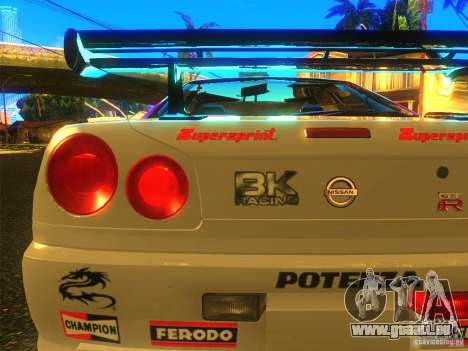Nissan Skyline R34 Nismo pour GTA San Andreas sur la vue arrière gauche