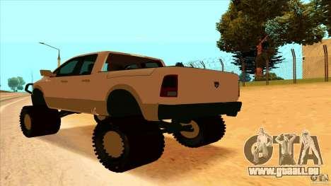 Dodge Ram 2500 4x4 pour GTA San Andreas laissé vue