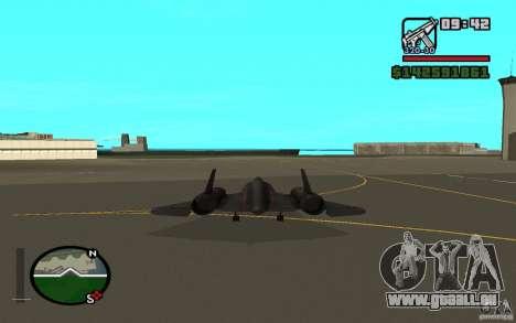 SR-71 Blackbird pour GTA San Andreas sur la vue arrière gauche