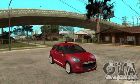 Citroen DS3 2010 pour GTA San Andreas vue arrière