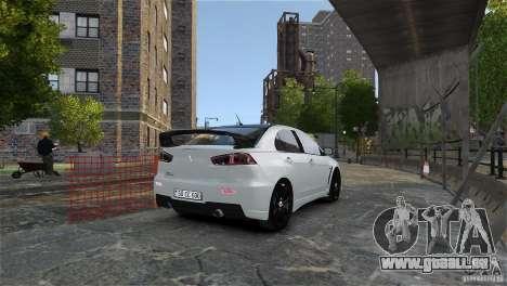 Mitsubishi Lancer Evo X pour GTA 4 vue de dessus