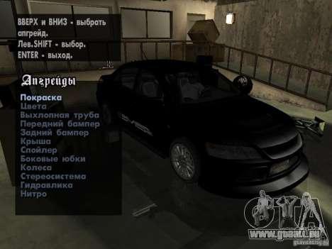 Mitsubishi Lancer Evo IX MR Edition pour GTA San Andreas vue intérieure