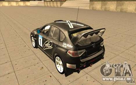Subaru Impreza WRX STi avec unique nouveau vinyl pour GTA San Andreas sur la vue arrière gauche
