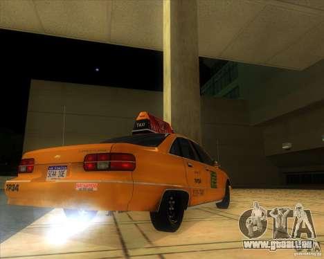 Chevrolet Caprice Taxi 1991 pour GTA San Andreas sur la vue arrière gauche
