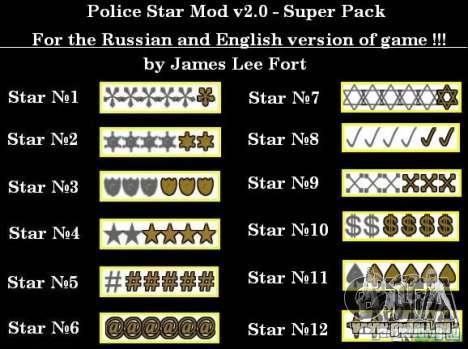 Neue Sterne für die Kapuze # 12 für GTA San Andreas
