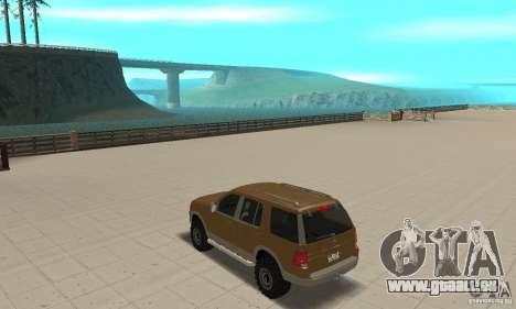 Ford Explorer 2002 für GTA San Andreas zurück linke Ansicht