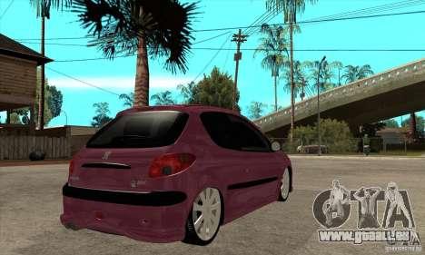 Peugeot 206 Suspen AR für GTA San Andreas rechten Ansicht