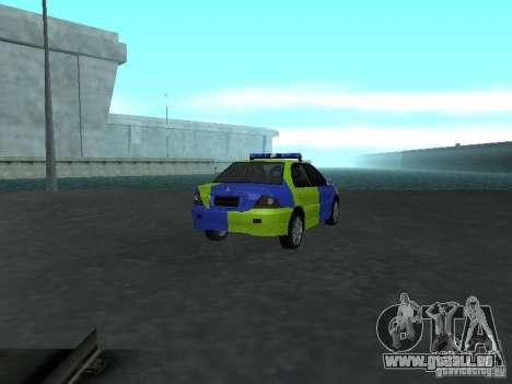 Mitsubishi Lancer-Polizei für GTA San Andreas zurück linke Ansicht