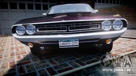 Dodge Challenger 1971 RT für GTA 4 Unteransicht