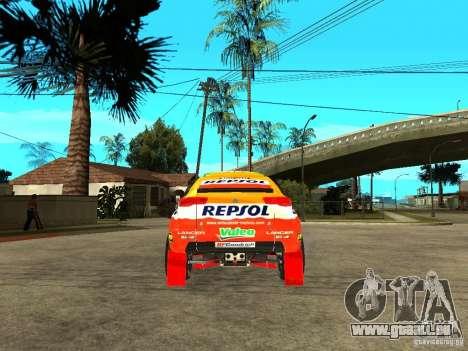 Mitsubishi Racing Lancer from DIRT 2 für GTA San Andreas zurück linke Ansicht