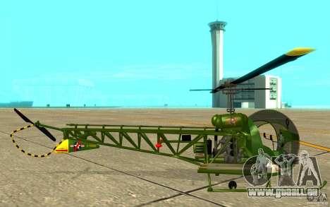 Bell H13 pour GTA San Andreas sur la vue arrière gauche