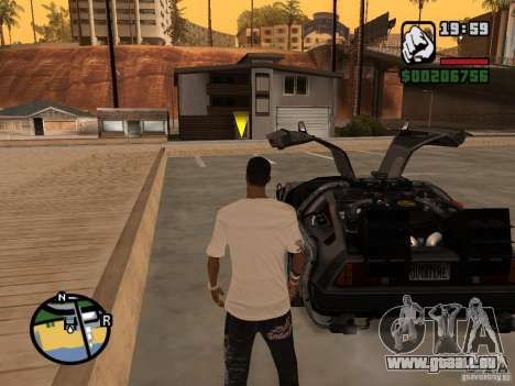 Crysis Delorean BTTF1 für GTA San Andreas zurück linke Ansicht