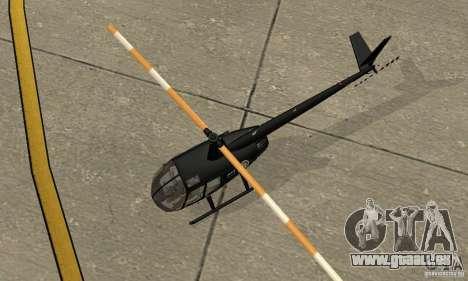 Robinson R44 Raven II NC 1.0 schwarz für GTA San Andreas Rückansicht