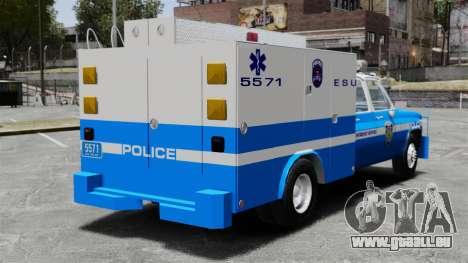 GMC C3500 NYPD ESU pour GTA 4 Vue arrière de la gauche