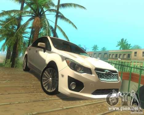 Subaru Impreza Sedan 2012 pour GTA San Andreas sur la vue arrière gauche