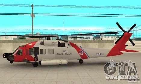 HH-60 Jayhawk USCG für GTA San Andreas zurück linke Ansicht