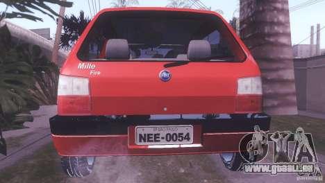 Fiat Uno Mile Fire Original pour GTA San Andreas laissé vue