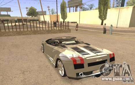 Lamborghini Galardo Spider pour GTA San Andreas vue de dessus