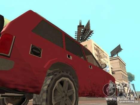 Le nouveau Huntley pour GTA San Andreas sur la vue arrière gauche