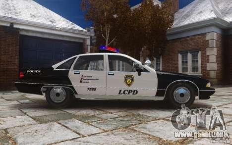 Chevrolet Caprice 1991 Police pour GTA 4 est une vue de l'intérieur