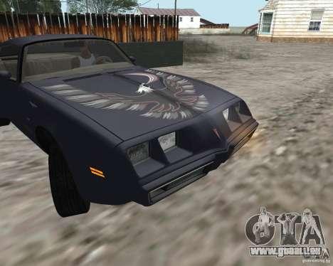 Pontiac Firebird Trans Am Turbo 1980 pour GTA San Andreas laissé vue