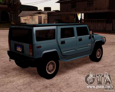 Hummer H2 SUV pour GTA San Andreas sur la vue arrière gauche