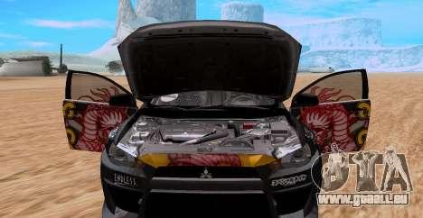 Mitsubishi Lancer Evolution RYO Vatanabe pour GTA San Andreas sur la vue arrière gauche