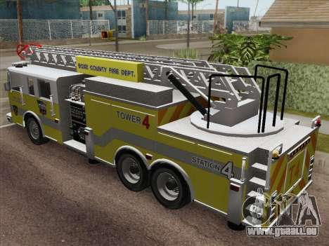 Pierce Arrow XT BCFD Tower Ladder 4 für GTA San Andreas Rückansicht