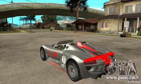 Porsche 918 Spyder pour GTA San Andreas sur la vue arrière gauche