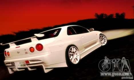 Nissan Skyline GT-R R34 pour GTA San Andreas laissé vue