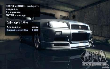 Nissan Skyline GTR R34 VSpecII für GTA San Andreas Innen