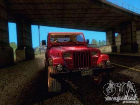 Jeep Wrangler 1994 für GTA San Andreas Rückansicht