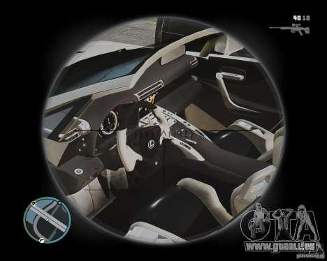 Lexus LF-A Roadster pour GTA 4 est une vue de l'intérieur