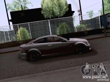 Mercedes-Benz C63 AMG Coupe Black Series für GTA San Andreas zurück linke Ansicht