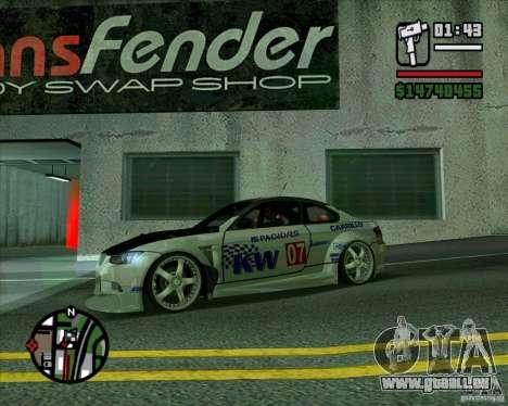 Bmw M3 2008 E92 pour GTA San Andreas laissé vue