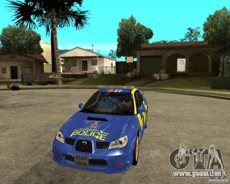 Subaru Impreza STi police für GTA San Andreas Rückansicht