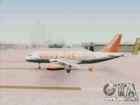 Airbus A319 Easyjet für GTA San Andreas zurück linke Ansicht