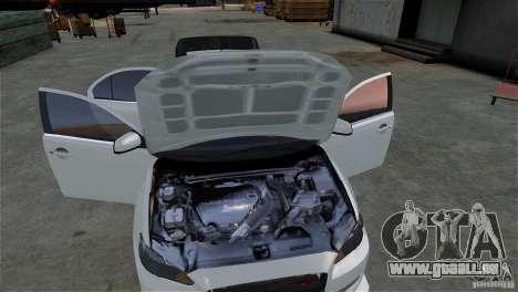 Mitsubishi Lancer Evo X pour GTA 4 est une vue de l'intérieur