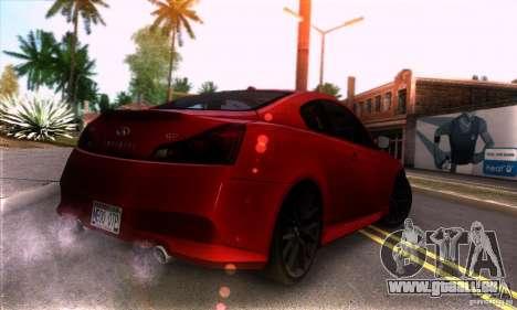 Infiniti IPL G Coupe 2012 für GTA San Andreas rechten Ansicht