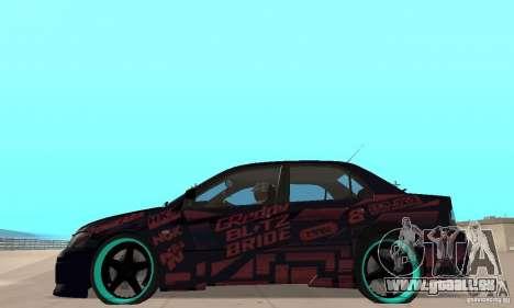 Mitsubishi Lancer Evo 8 Tuning pour GTA San Andreas sur la vue arrière gauche