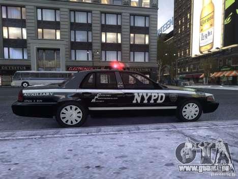 Ford Crown Victoria NYPD Auxiliary pour GTA 4 Vue arrière de la gauche